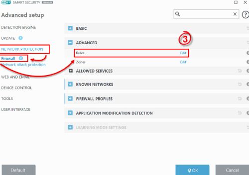 ESET Antivirus Firewall Settings